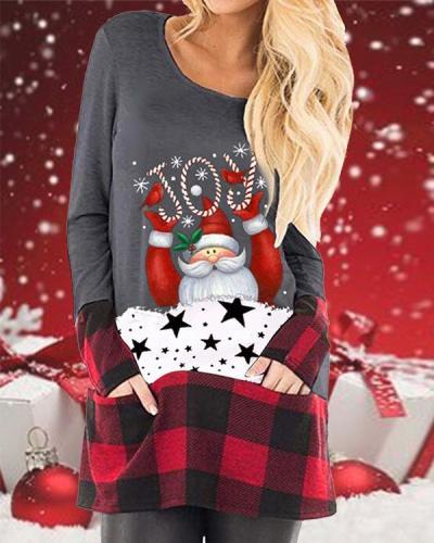 Women Santa Claus Plaid Tops