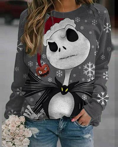 Christmas Snowman Print Round Neck Long Sleeve Sweatshirt
