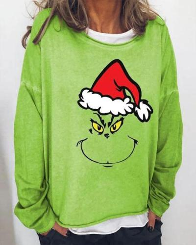 Christmas Print Green Loose Fit Blouse
