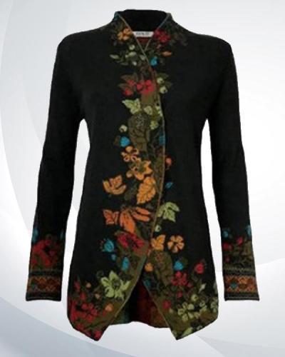 Women  Flowers Print Vintage Coat