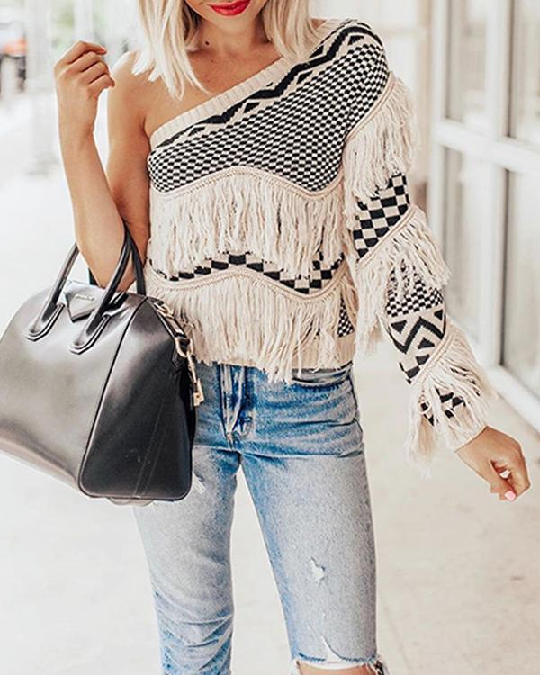 One Sleeve Cold Shoulder Sweater