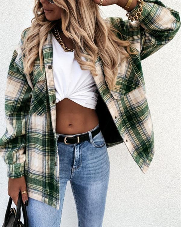 Turn-down Collar Pockets Plaid Loose Shirt Coat