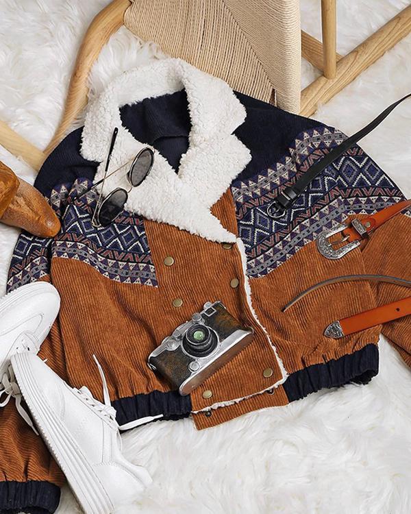 Fashion Casual Print Gored Long sleeve Wool Coats