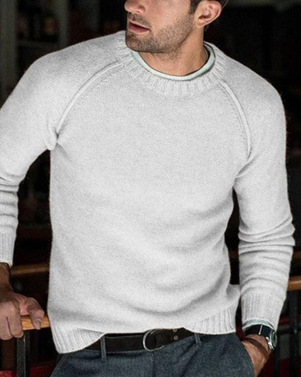 Men's Solid Color Casual Knit Sweater