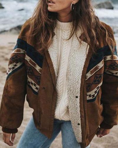 Retro Striped Women's Cotton Jacket