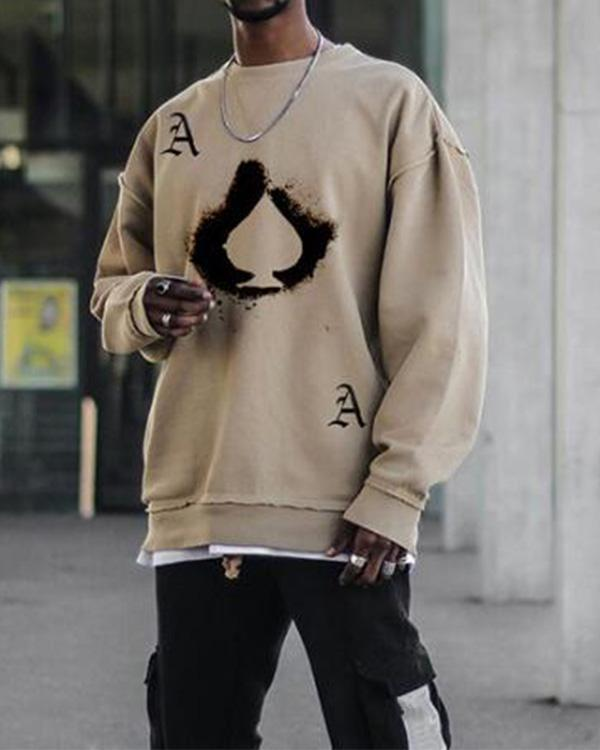 Mens Khaki Crew Neck Sweatshirt