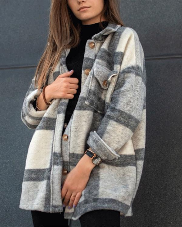 Mid-length Plaid Jacket