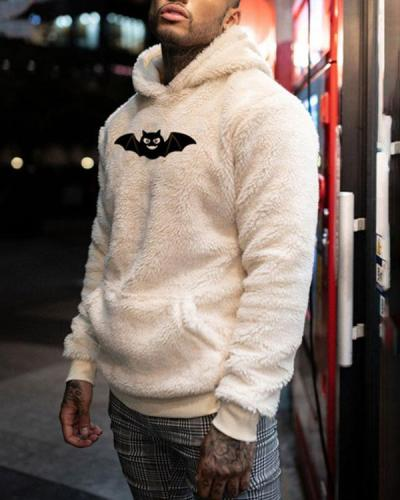 Mens Print Casual Loose Hooded Sweatshirt