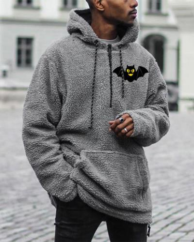 Mens Grey Casual Loose Hooded Sweatshirt