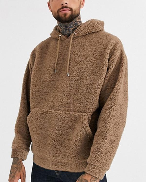 Mens Casual Solid Color Loose Hooded Sweatshirt