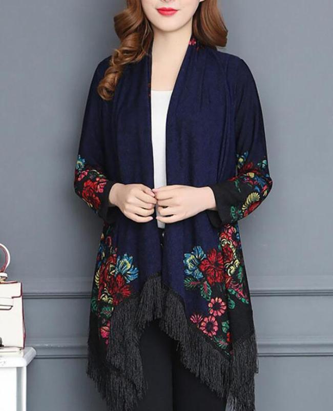 Shawl Collar Long Sleeve Vintage Floral Asymmetrical Coat