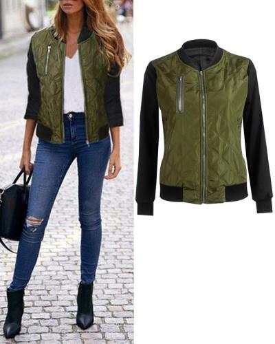 Fashion Zipper Women Daily Jacket Long Sleeve Coat