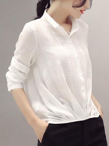 Women Chiffon Short Sleeve Shirts Tops