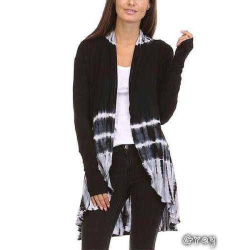 Women's Fashion Tie-Dye Hi-Low Open Cardigan Long Sleeve Asymmetric Top