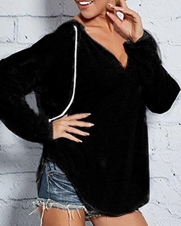 Womens V Neck Long Sleeve Sweatshirt Loose Jumper Pullover Ladies Casual Hoodies