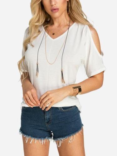 Pleated Design Cold Shoulder V-neck Tshirts
