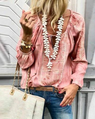 Plus Size Lace Up Fashion V Neck Long Sleeve Blouses