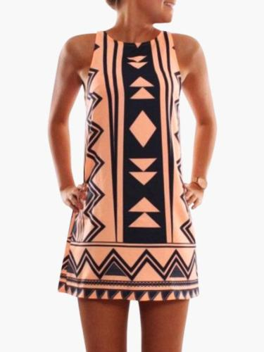 Orange Geometrical Printed Crew Neck Sleeveless Dresses