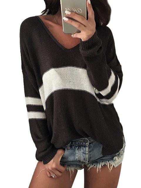Knitted Basic Plus Size Striped V neck Casual Sweater