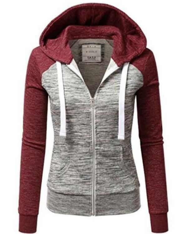 Long Sleeve Hooded Zipper Pockets Zip Up Coats
