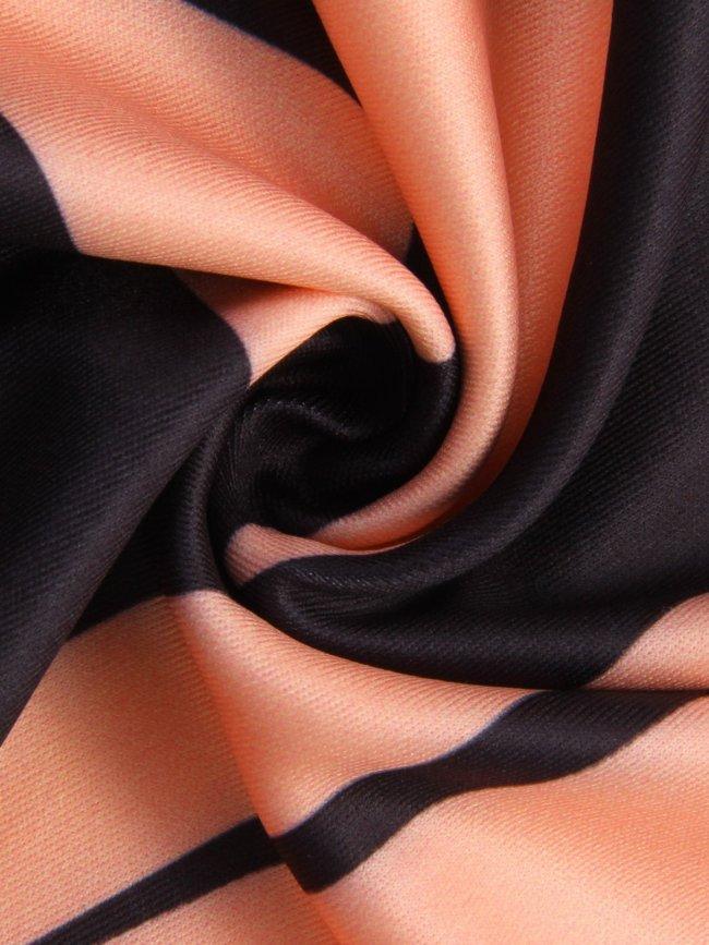Orange Geometrical Printed Crew Neck Sleeveless Dresses
