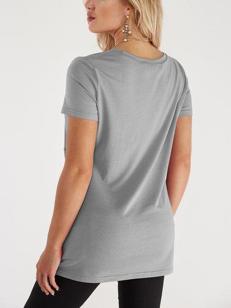 Pleated Design Round Neck Short Sleeves Tshirts