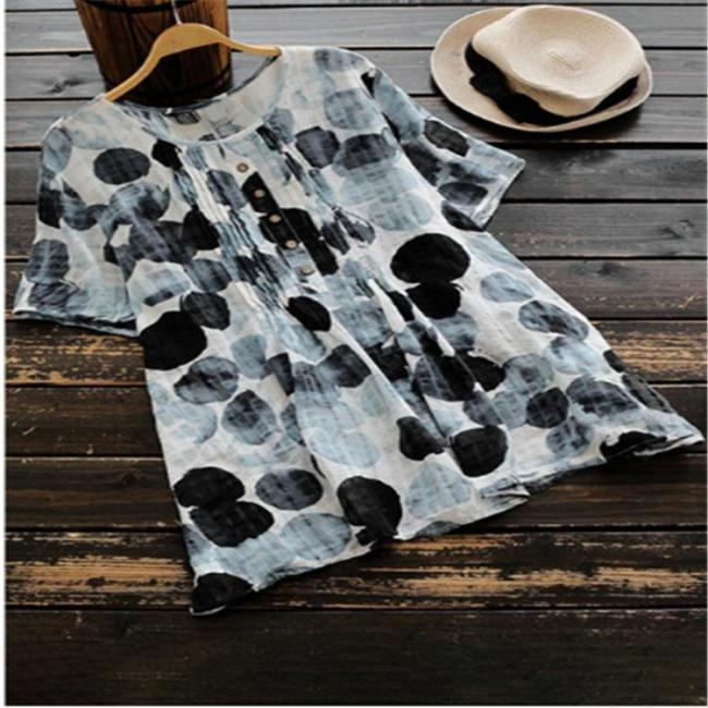 Short Sleeve Printed Crew Neck Casual T-Shirt Tops