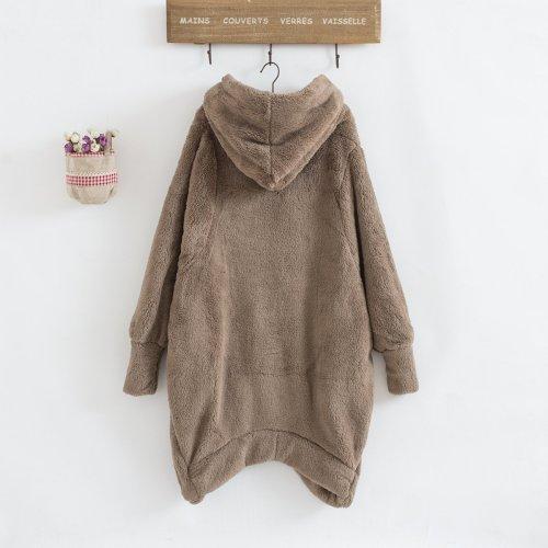 Plus Size Cozy Fuzzy Long Sleeve Hooded Zipper Irregular Hem Coats