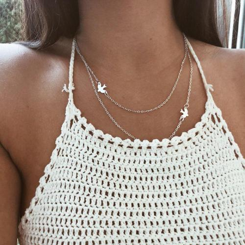 Double Chain Dove Necklace