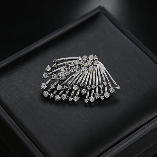 1 PC Trendy Rhinestones Silver Tassels Stud Earrings