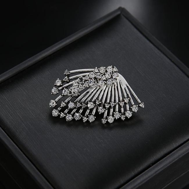 1 PC Trendy Rhinestones Silver Tassels Stud Earrings