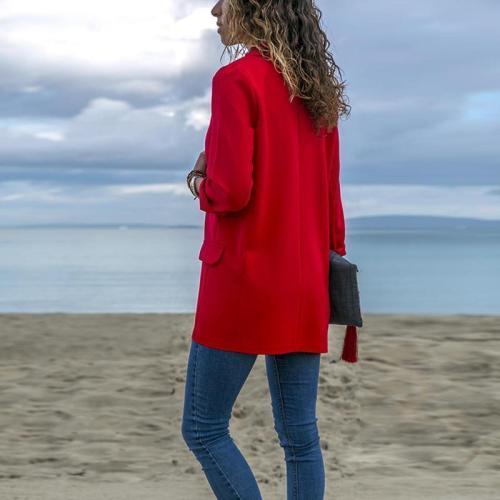 Fashion Lapel Long Sleeve Pocket Blazer Coat
