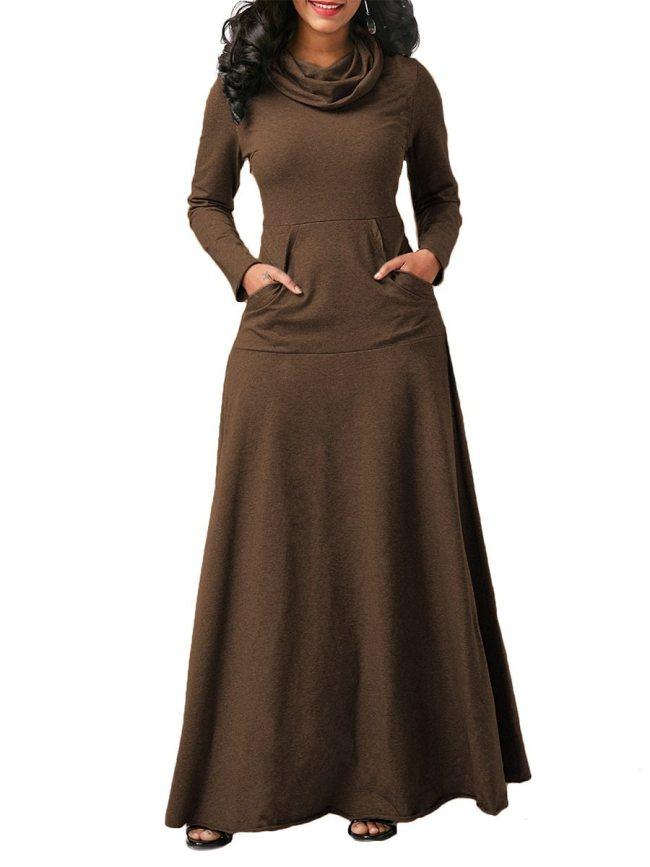 Plus Size Women's Fashion Pocket Solid Color Maxi Long Dress