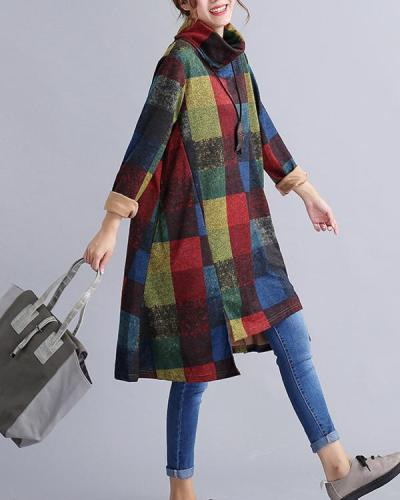 Women Plaid Print Turtleneck Irregular Full Vintage Cotton Long Sleeve Dress