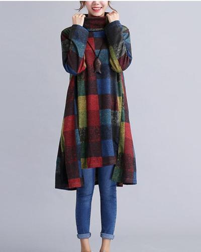 Women Plaid Print Turtleneck Irregular Full Vintage Cotton Long Sleeve Dress