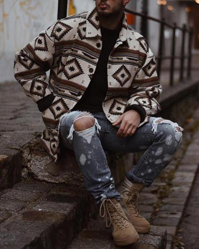 White Printed Vintage Tribal Outerwear