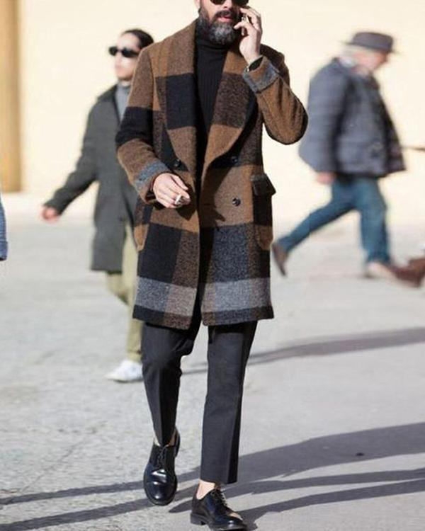 Mens Lapel Plaid Winter Long Coat