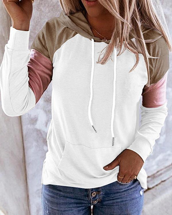 Womens Long Sleeve  Color Block Hoodie Pullover Hooded Sweatshirt