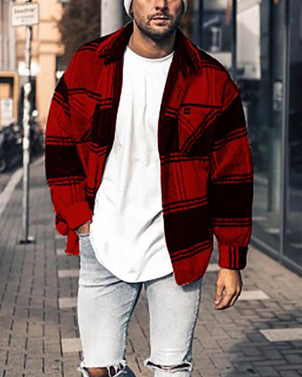 Lapel Plaid Fall Single-Breasted Jacket