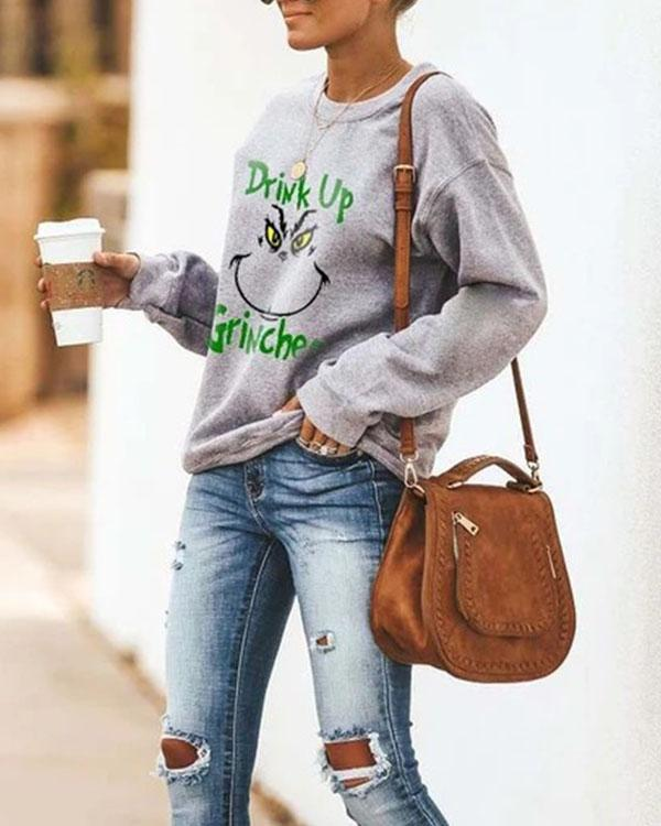 Drink Up Grinches Round Neck Long Sleeve Fleece Sweatshirt