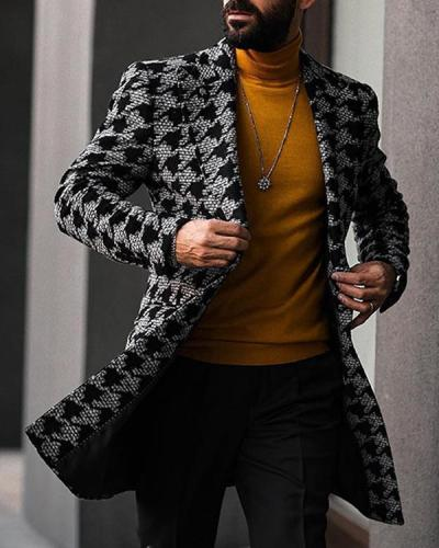Men Long Woollen Wind Coat Casual Double Breasted Mens Wool Overcoat