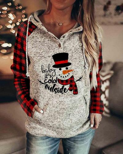 Women's Christmas Print Plaid Sleeve Sweatshirt