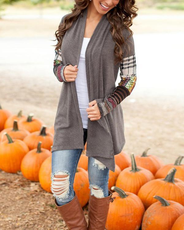 Geometric Splicing Long Sleeve Casual Cardigan