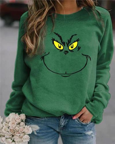 Printed Round Neck Long Sleeve Green Sweatshirt