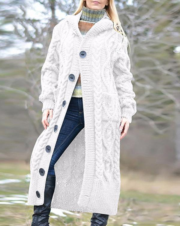 Women Hooded Long Cardigan Coat Winter Fashion Knitwear