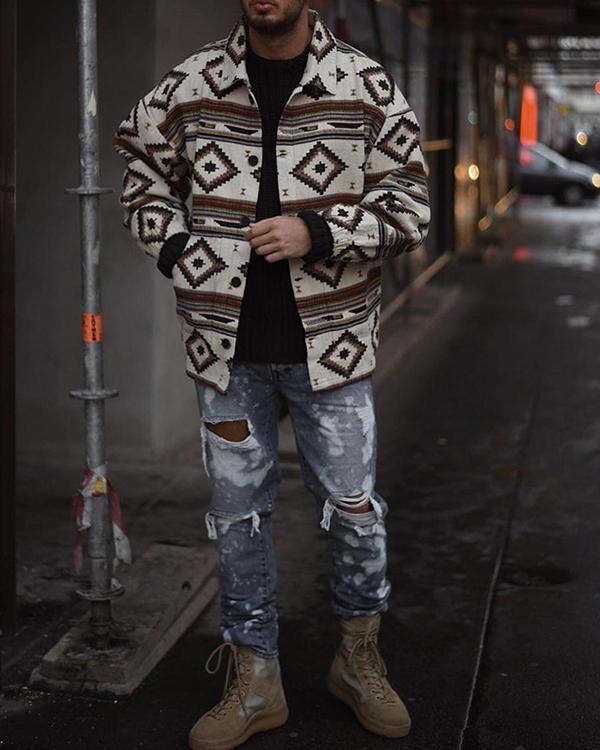 White Printed Vintage Tribal Outerwear