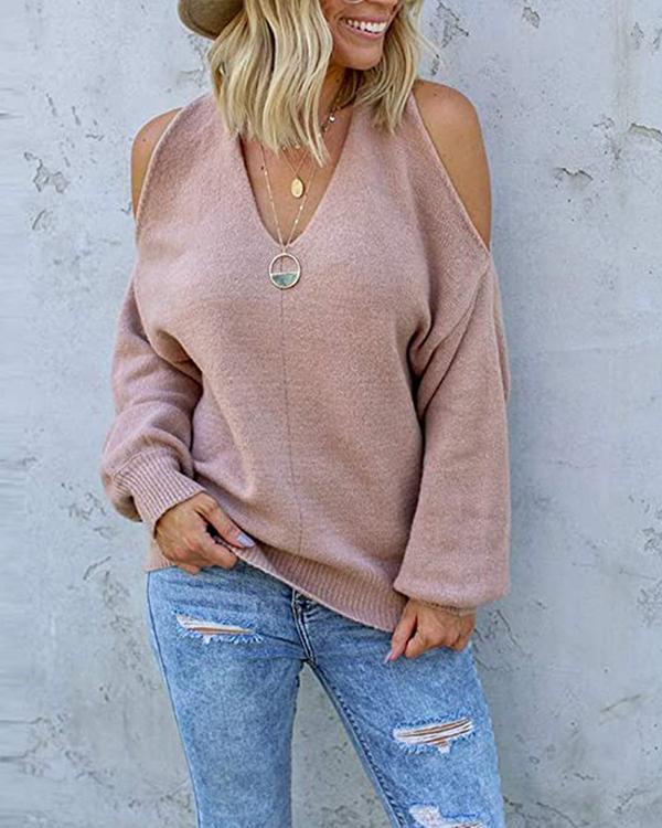 Sexy Off-shoulder V-Neck Loose Blend Sweater
