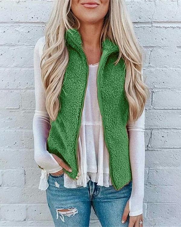 Sleeveless Soft Fleece Vest Jacket Outerwear