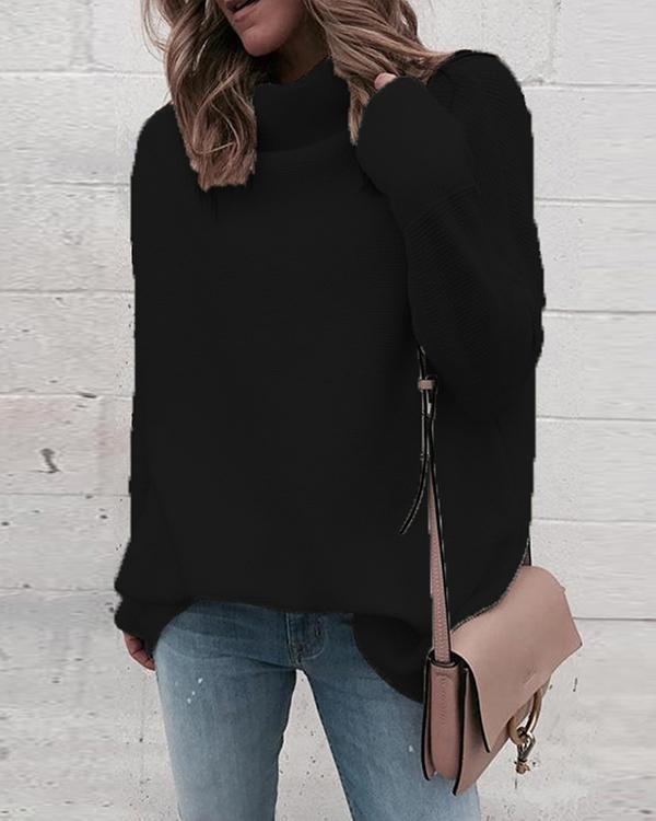 Fashion Dropped Shoulder Sleeve Turtle Neck Plain Color Sweater