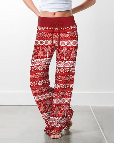 Women Christmas Printed Loose Pants